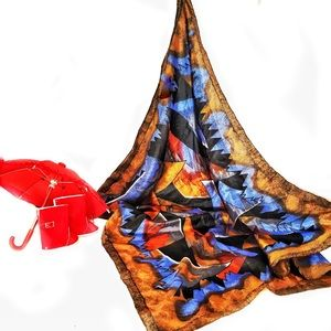"100% Silk Abstract Art 30"" Scarf Blue, Brown, Red"